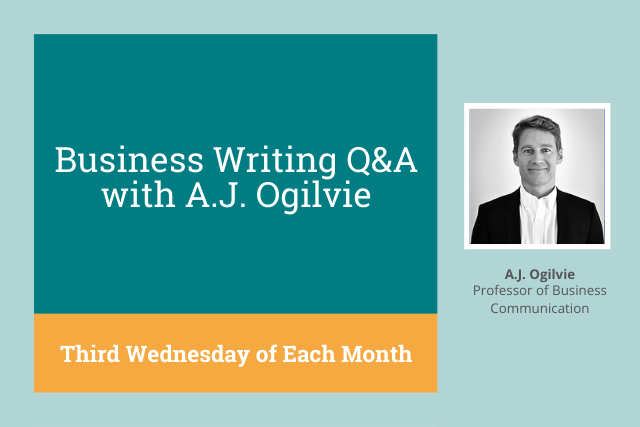 ProWritingAid Presents: Monthly Business Writing Training with A.J. Ogilvie