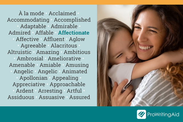 adjective examples: affectionate