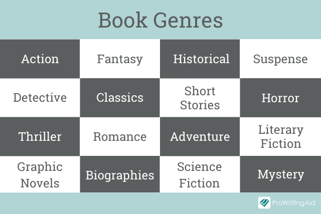 A list of book genres