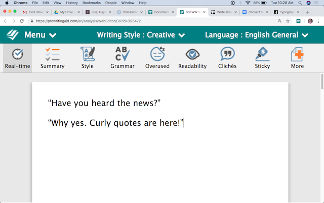 Convert to Curly or Straight Quotes with ProWritingAid!