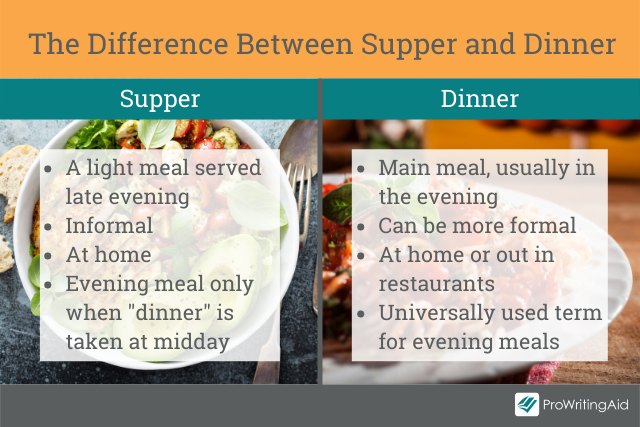 The main differences between supper and dinner
