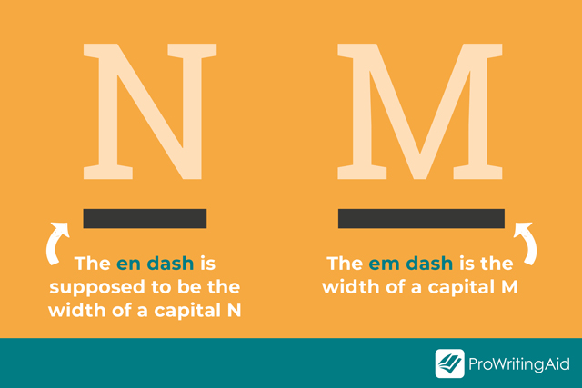 graphic showing N and M and en dash and em dash
