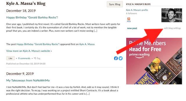 goodreads author blog