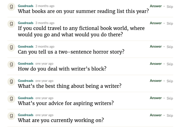 goodreads questions