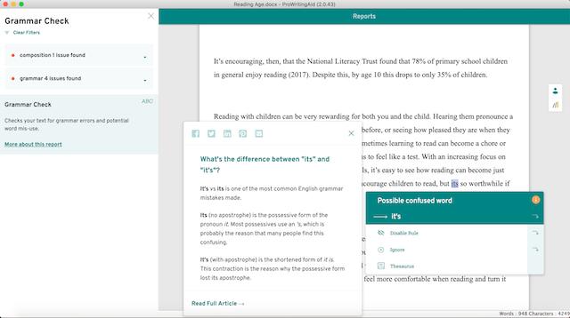 ProWritingAid's Grammar Check Screenshot