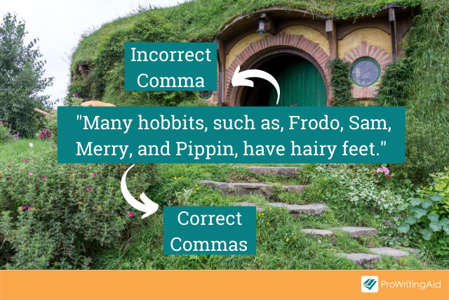 You should not use a comma in a restrictive phrase after the phrase such as and before a list