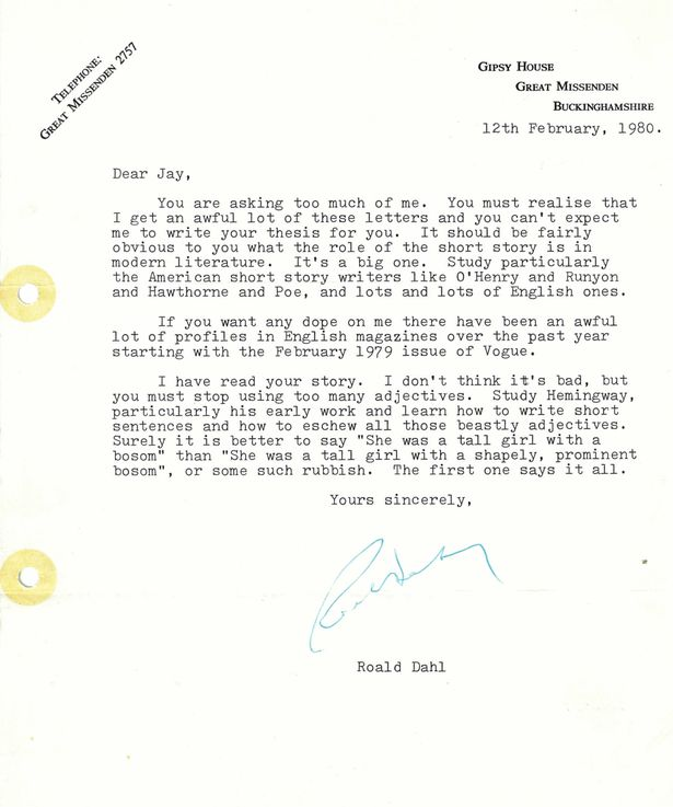 "A Letter from Roald Dahl: ""Eschew All Those Beastly Adjectives."""
