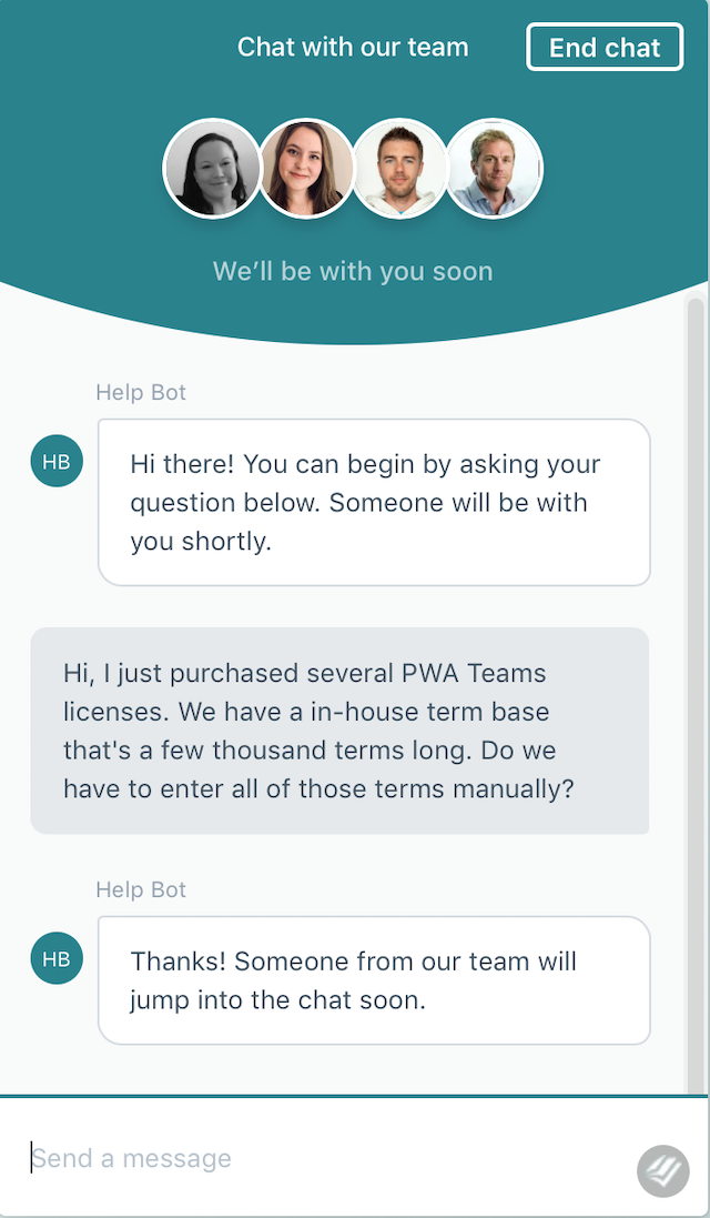 A customer's conversation with a chatbot