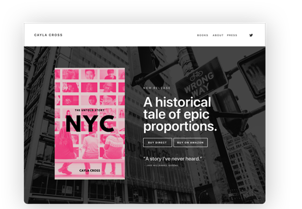 sample homepage with book cover and quote