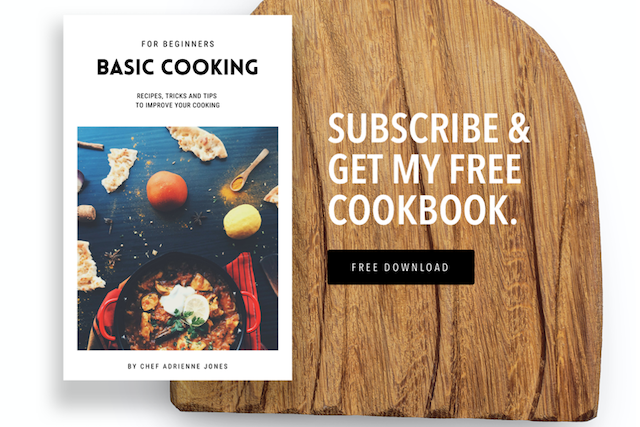 example landing page for a cookbook