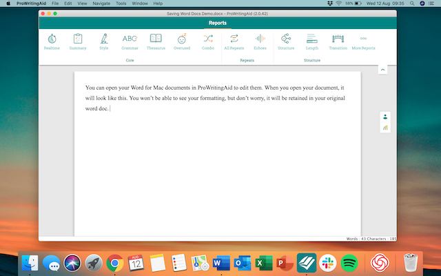 Word doc in ProWritingAid