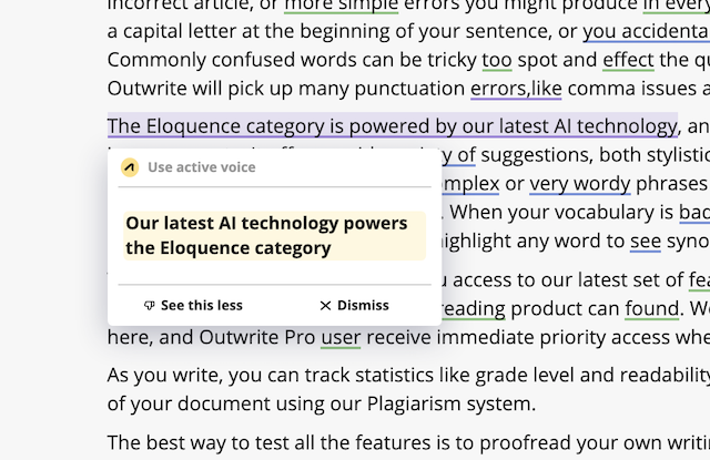 Outwrite Sentence Rewriting example