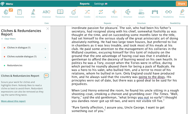 ProWritingAid's Cliche Report Screenshot