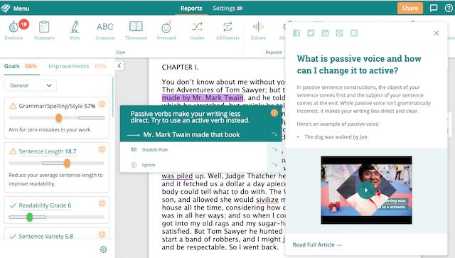 ProWritingAid's passive voice checker providing a writing tip