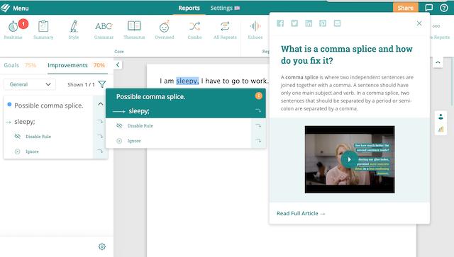 ProWritingAid's Comma Splice Report Screenshot