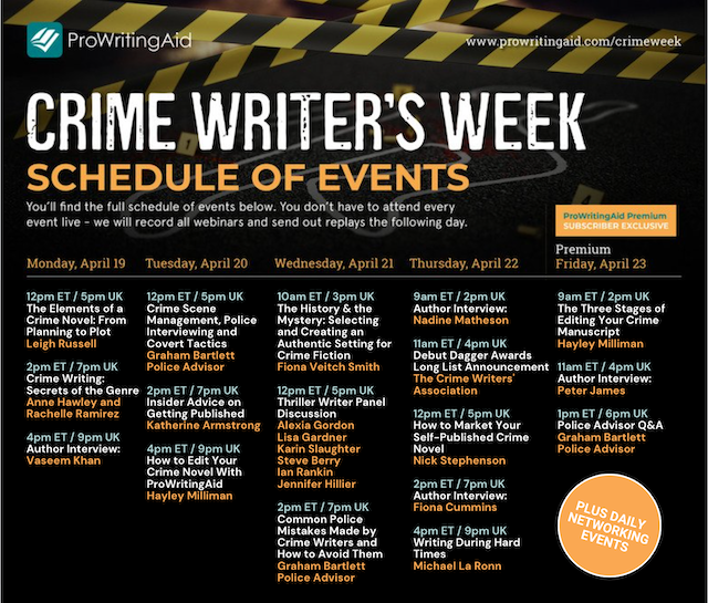 Crime Week Schedule