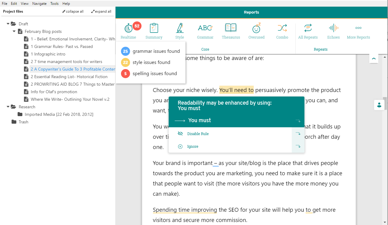 scrivener doc in prowritingaid desktop app