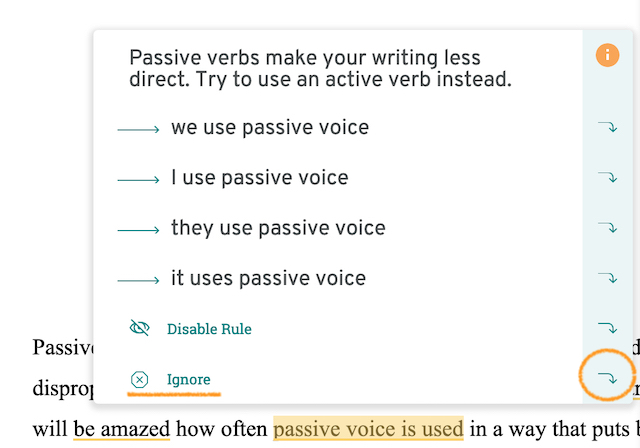 Passive voice correction