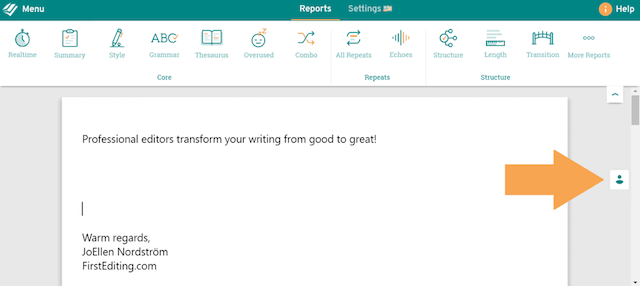 first editing button in prowritingaid