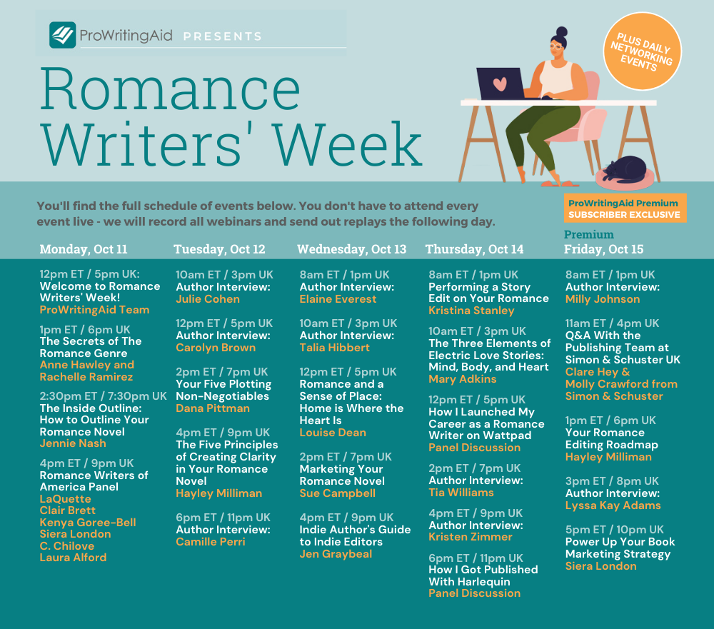 Full Schedule, Romance Writer's Week