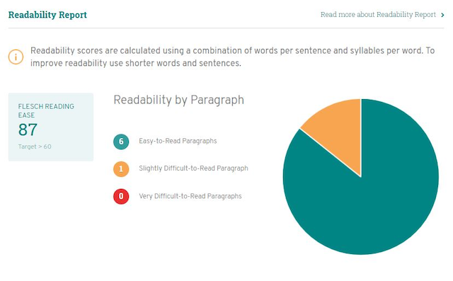 Readability Report Screenshot
