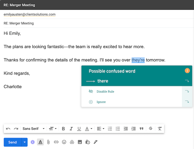 A screenshot showing ProWritingAid in an email tool