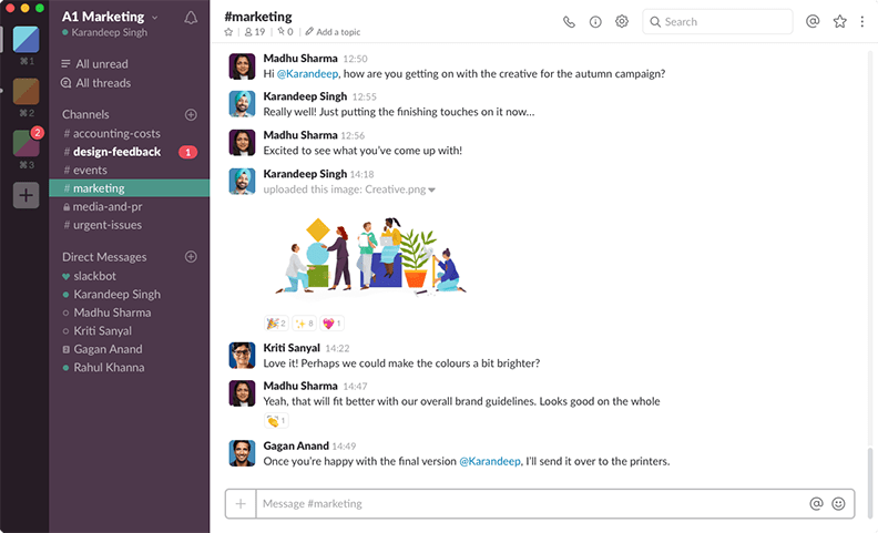Image of Slack dashboard