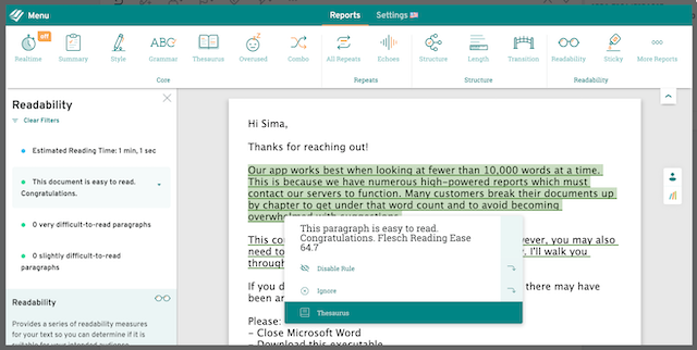 ProWritingAid's Readability Report Screenshot