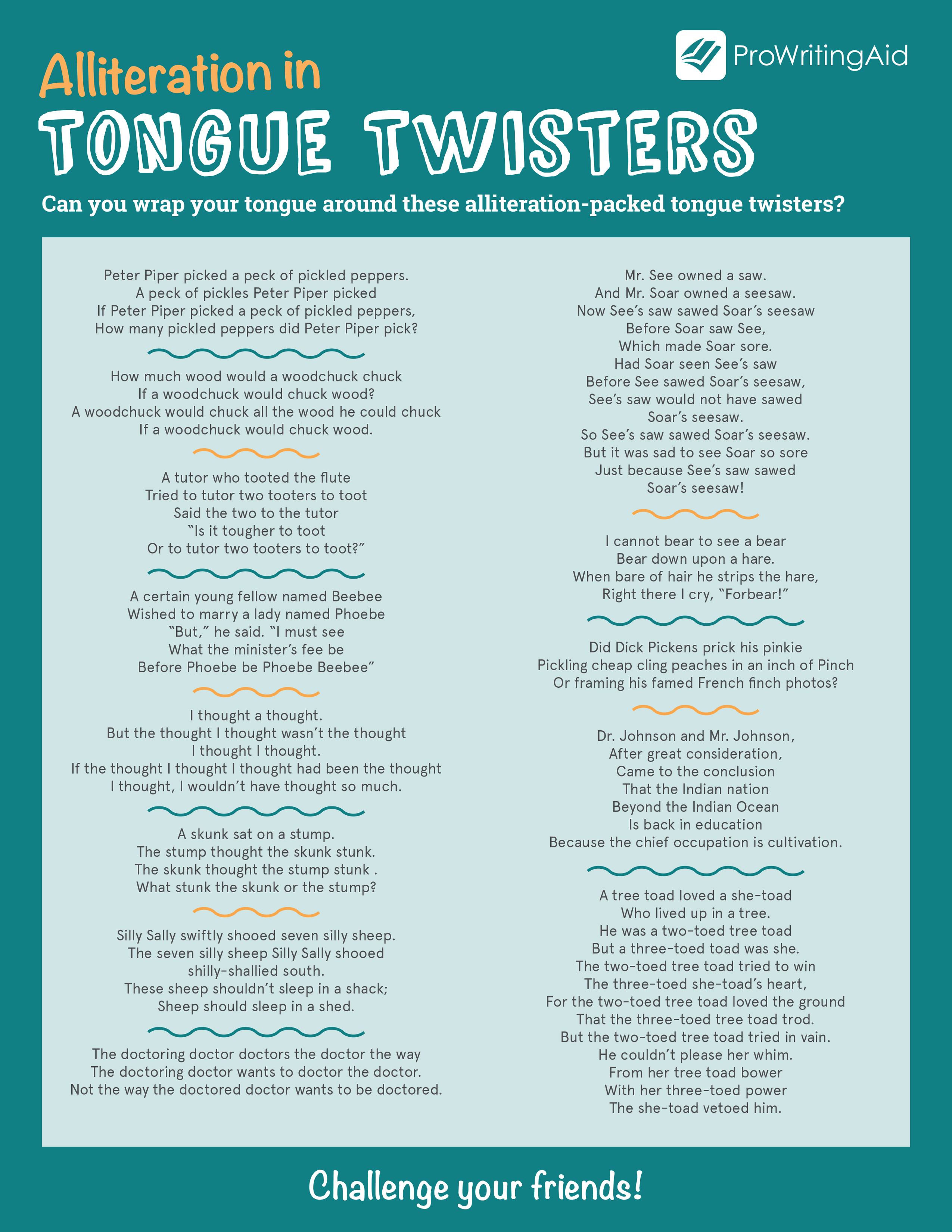 image about Poems for Two Voices Printable named Alliteration within Tongue Twisters