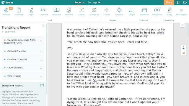 Transitions Report Screenshot