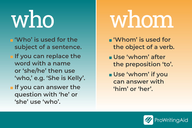 summary table of when to use who and whom