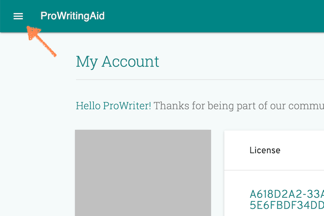 screenshot of prowritingaid account page