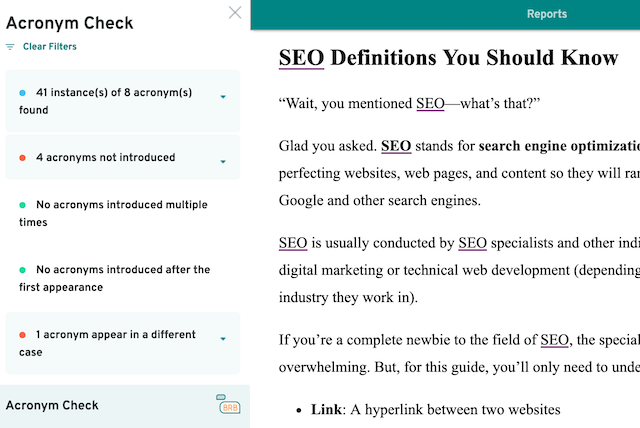 screenshot of prowritingaid acronym report