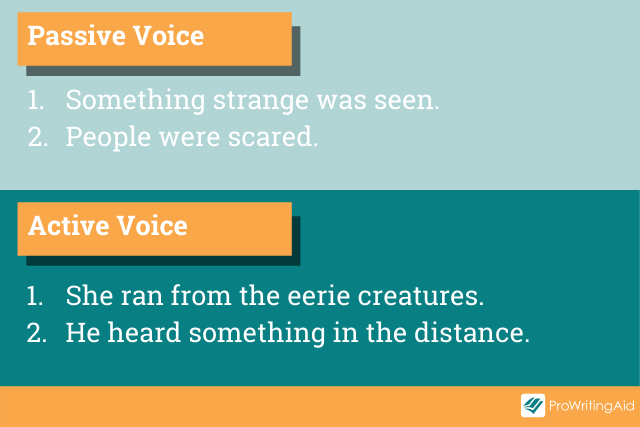 Image showing examples of active vs passive voice sentences