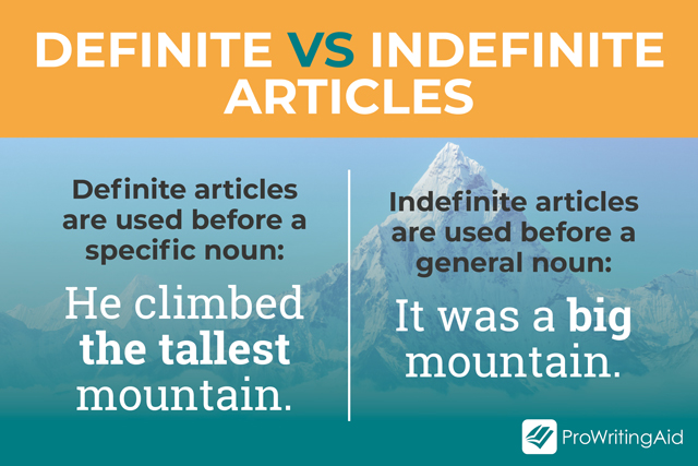 sentence examples using definite and indefinite articles with adjectives