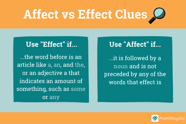 clues for using affect and effect in a table