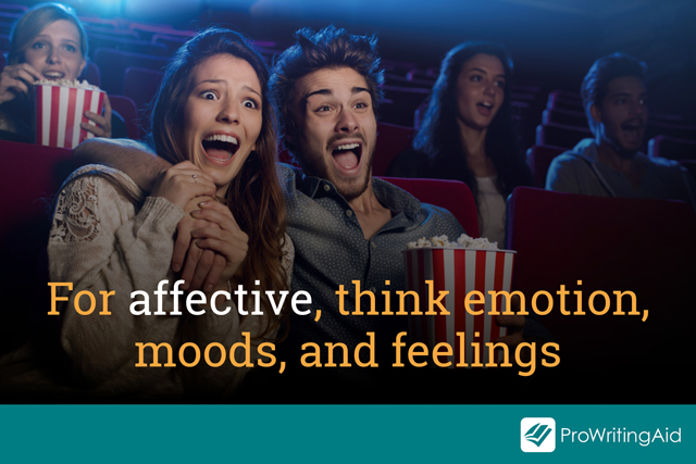 think emotions, moods and feelings for affective, a couple look excited at the cinema