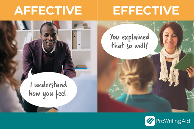 teachers under affective and effective with speech bubbles: Affective: I understand your feelings, Effective: You understand well