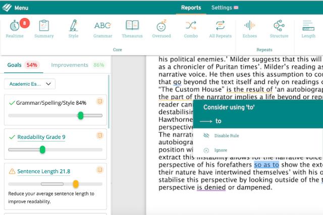 readability enhancement for an essay
