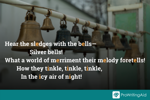 first few lines of 'The Bells', assonance highlighted