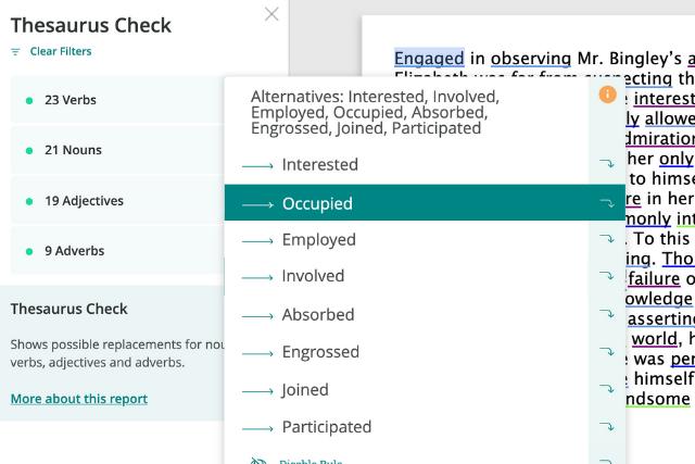 assonance in prowritingaid's thesaurus check