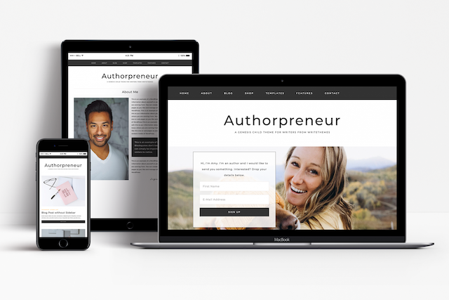 authorpreneur theme on laptop, phone and tablet