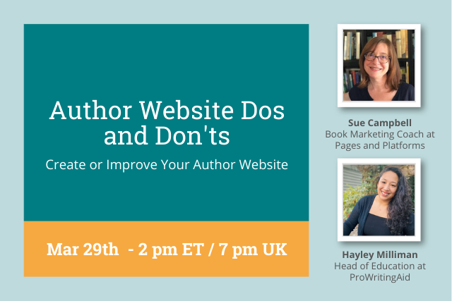 cover reading: Author Website Dos and Don'ts, Mar 29 2PMET/ 6PM UK
