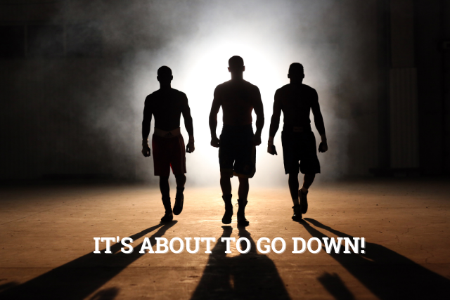 Image showing 3 men going to fight