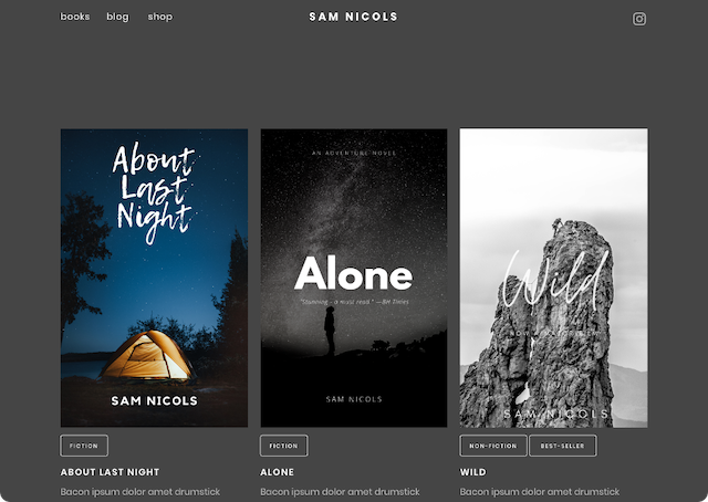 sample books page on author site