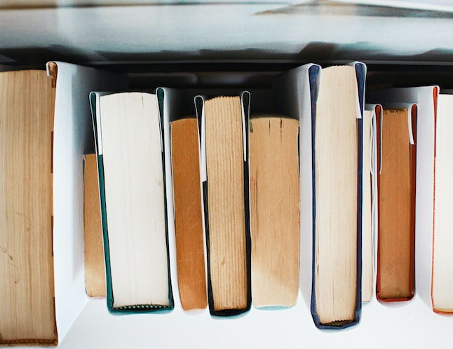 top view of various-sized books