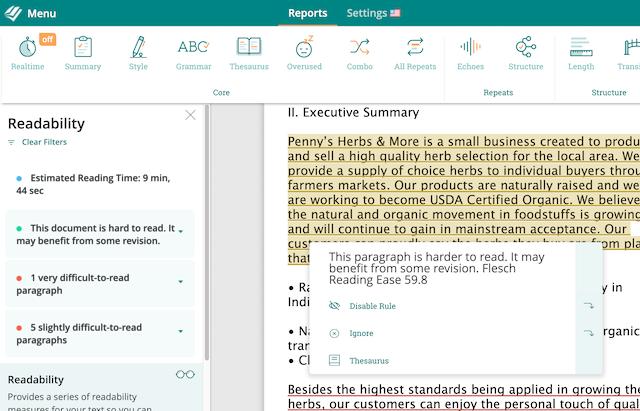 The ProWritingAid Readability Report