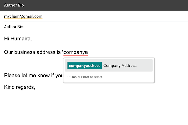 company address snippet in email