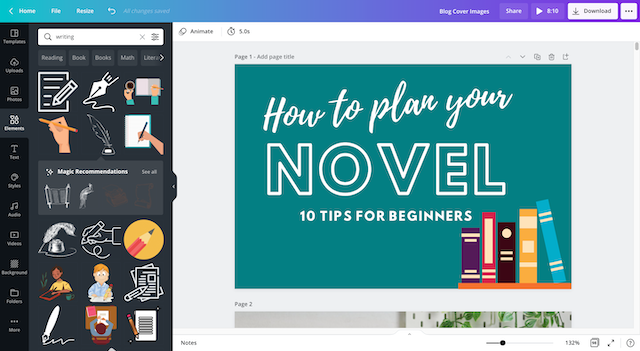 creating a blog cover image in canva