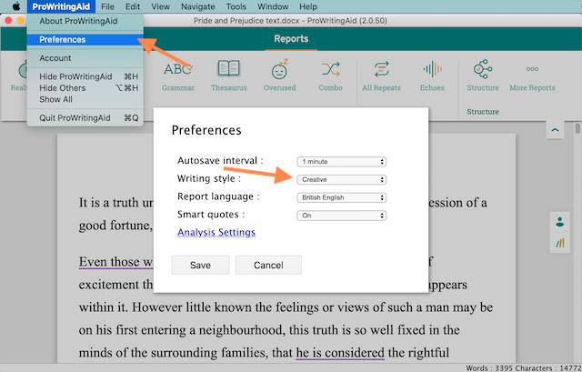 changing editor settings in ProWritingAid